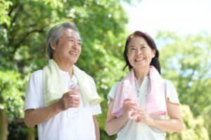 老年夫婦の運動後